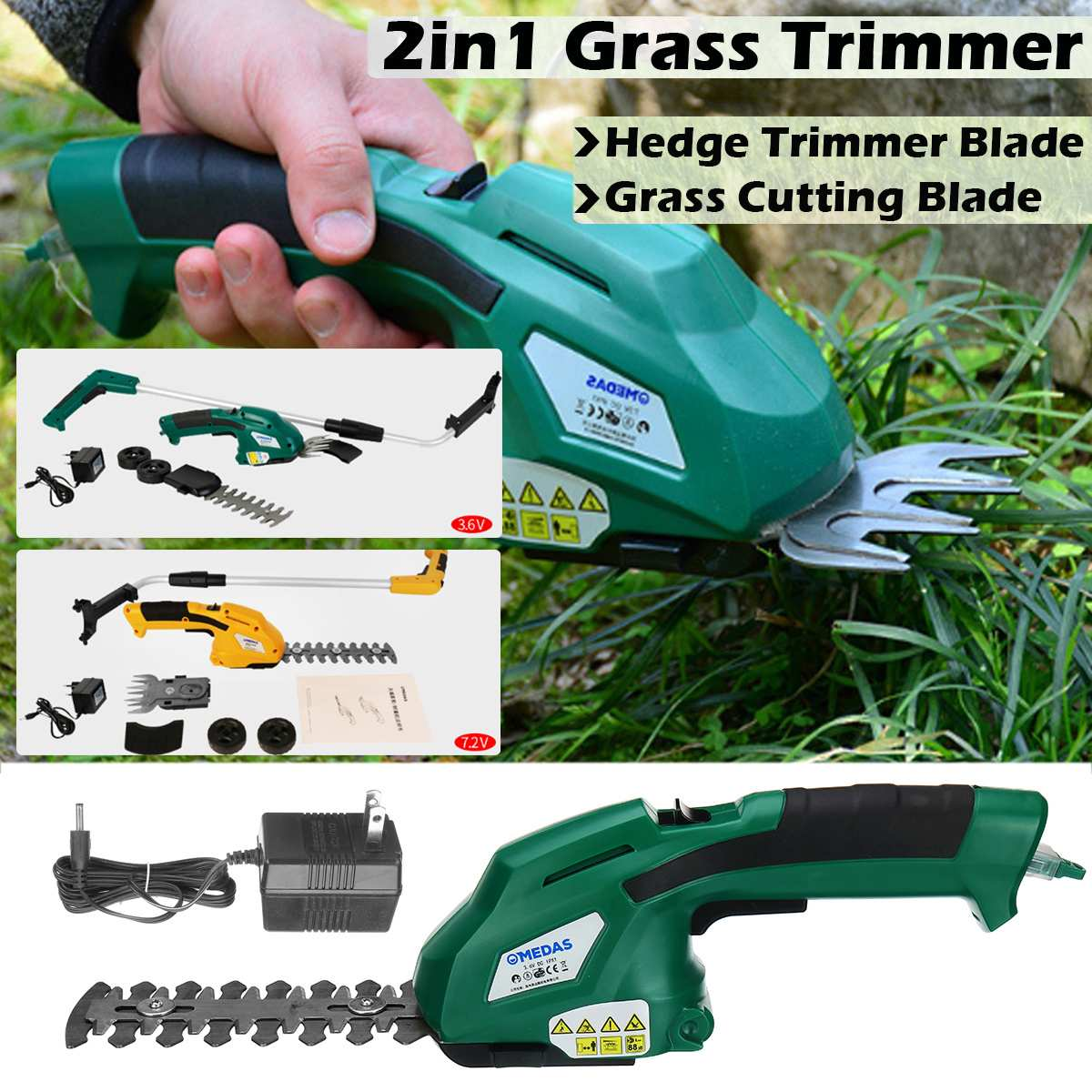 7.2V 3.6V 2in1 Li-Ion Battery Pruning Tool Cordless Hedge Trimmer Grass Trimmer Brush Cutter Shrub Shear Garden Tools