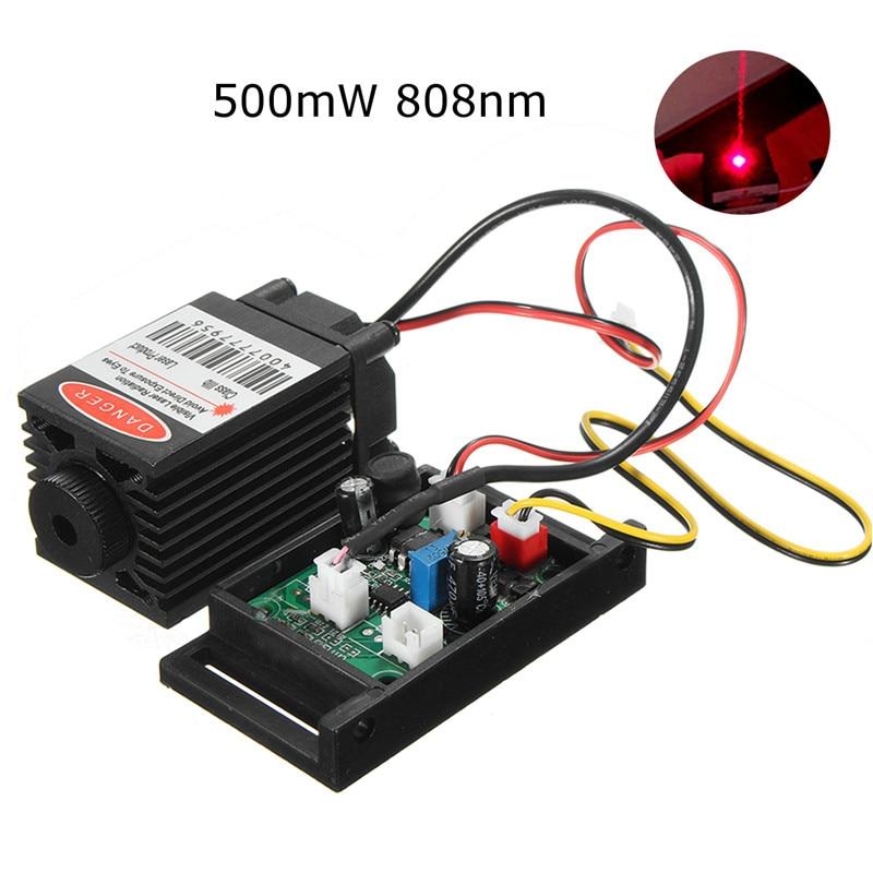 Focusable 500mw 808nm Infrared IR Laser Diode Dot Module 12V+ TTL+ Fan Cooling Laser Module For CNC Engraving Machine