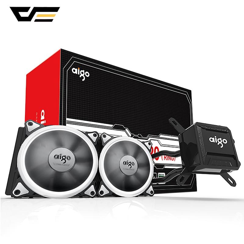 Ventilador de Refrigeração de Água Darkflash Aigo Água Líquido Cooler T120 – 240 Radiador Silencioso Led Halo Luzes Lga 775 Am2 Am3 Am4 Cpu