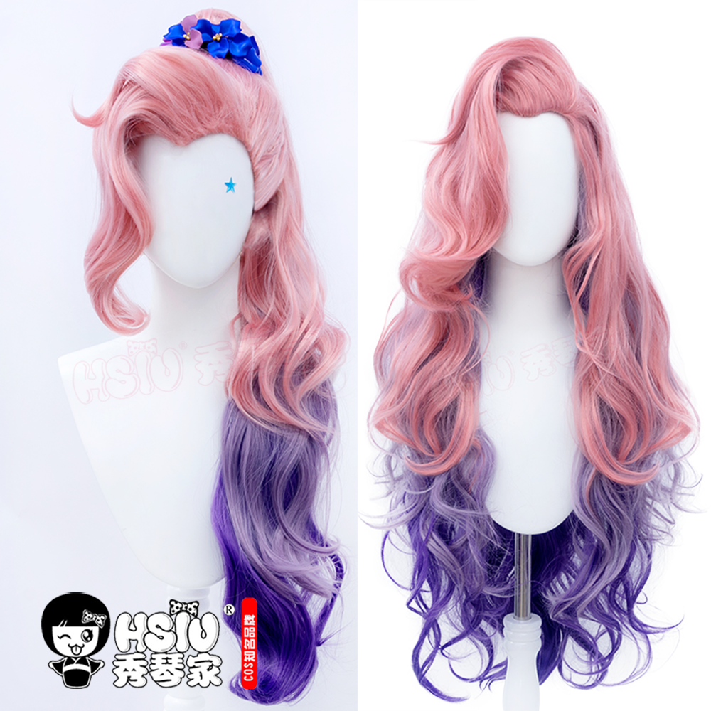 HSIU game LOL KDA League of Legends Cosplay Seraphine Wig Grapefruit pink gradient purple color long hair + Free brand wig cap