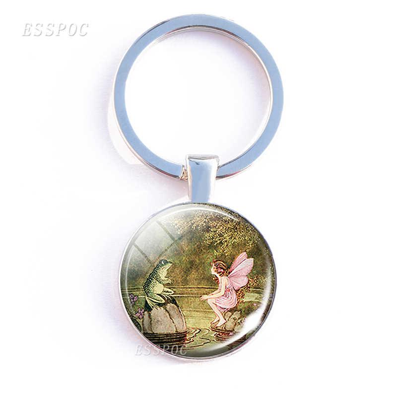 Grenouille et fée Double côté porte-clés porte-clés fée bijoux Cabochon verre porte-clés ange ailes porte-clés anneau amoureux cadeau