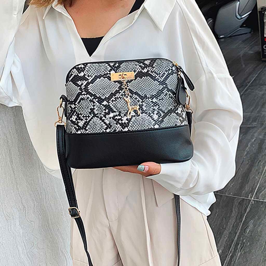 Serpent Women Bag  Bukets Snake Print Fashion Bags Handbag  Deer Hanging Ornament Shoulder Purse Cross Body Casual Messenger Bag