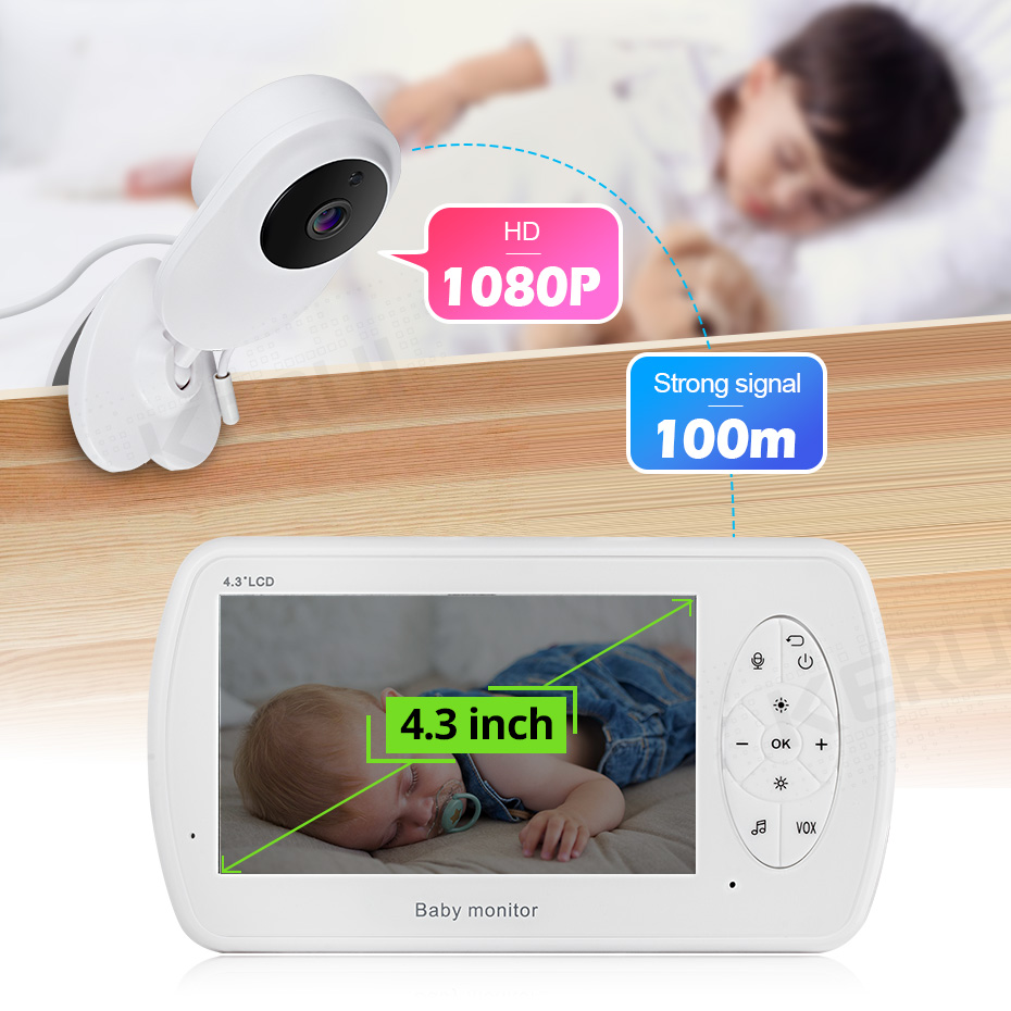 KERUI 4.3 inch Screen 2MP 1080P Wireless Video Nanny Baby Monitor With Camera Security Babyfoon Temperature Monitor Night Vision(China)