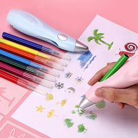 Tenwin 2 Colors Electric Spray Art Pen Airbrush Marker Set Magic Pen Air marker sprayer Childrens Kids Toy Christmas Gift