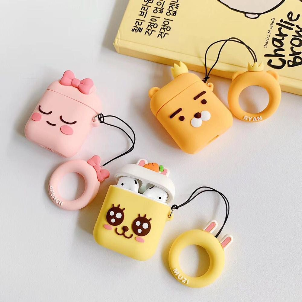 Lion Peach Rabbit Pattern Silicone Protective Cover Shockproof Case Skin With Finger Ring Airpods 1/2 Charging Box Accessories