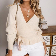 Women winter solid color deep V long sleeve knit sweater female casual pullover bandage backless sweater fashion autumn sweater