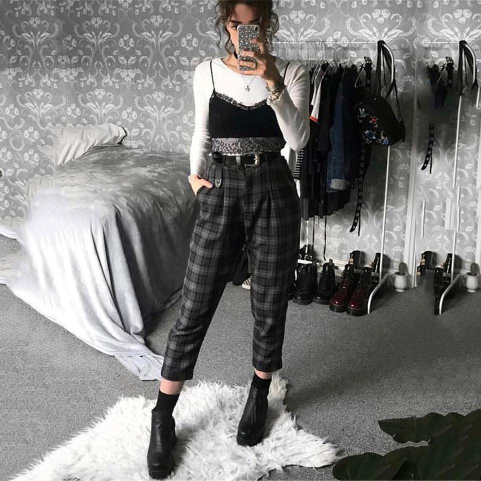 Plaid Pants Women Streetwear Cool Girl High Waist Trousers Harem Sweatpants Joggers Women Cargo Sweat Pants Korean Pantalon