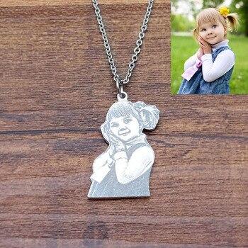 Collar con foto personalizada con imagen grabada personalizada y colgante de joyería para mujer