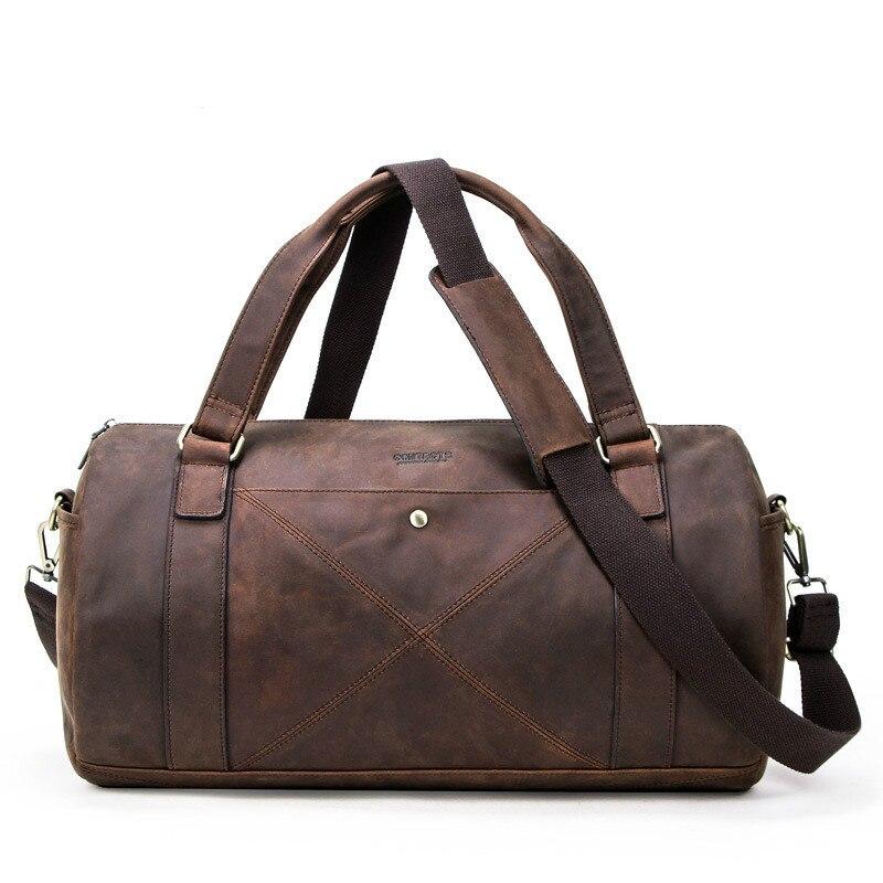 Vintage Crazy Horse Leather Men's Travel Bag Tide Multi-function Genuine Leather Travel Bag Trendy Men's Cow Leather Luggage Bag