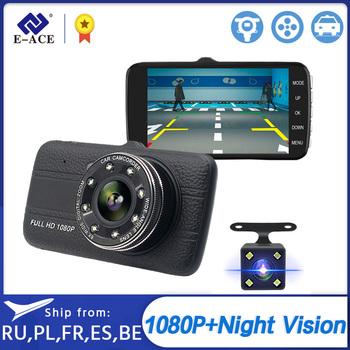 E-ACE kamera samochodowa 4 0 #8222 Full HD 1080P kamera na deskę rozdzielczą automatyczny rejestrator podwójny obiektyw Night Vision z widokiem z tyłu kamera wideo rejestrator tanie i dobre opinie GENERALPLUS Przenośny rejestrator Klasa 10 Connect With Charger Use 170 ° Samochód dvr 1920x1080 NONE G-sensor Zoom cyfrowy