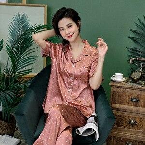 Image 3 - Costume pyjama pour femmes, impression de points ondulés, impression, pyjama, soie de glace, manches courtes, costume