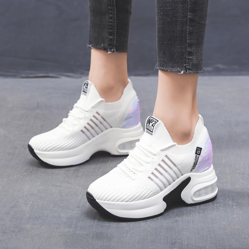 Women's Platform Shoes High Heel Increasing Ladies Shoes Mesh Breathable Quality Wedge Black Woman Sneakers