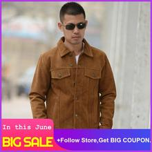 2020 Brown Men American Casual Style Leather Jacket Plus Size XXXL Genuine Suede Cowhide Autumn Slim Fit Leather Coat недорого