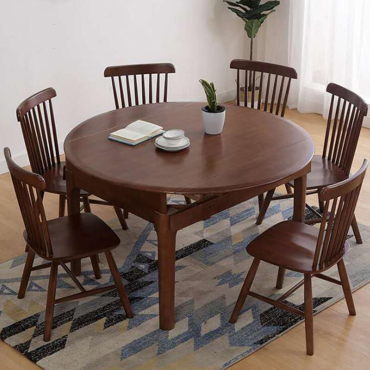 Living Room Dining Table Set Folding Table Solid Wood Round Table Home Furniture Diameter 120cm 1 Table 6 Chairs Set Dining Chairs Aliexpress