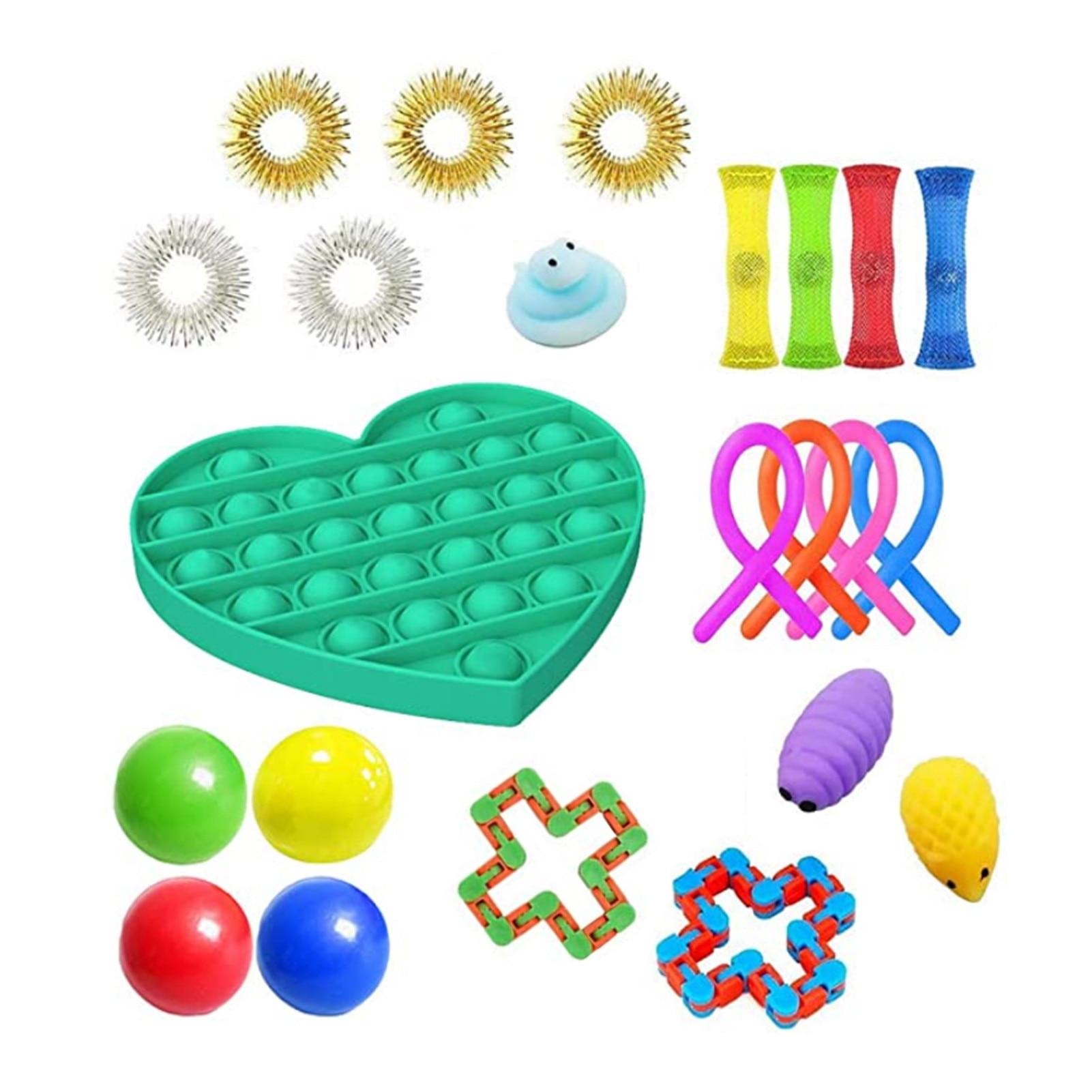 23 PCS Pack Sensory Fidget Toys Set Relieve Stress Toy Autism Anxiety Relief Stress Pop Bubble