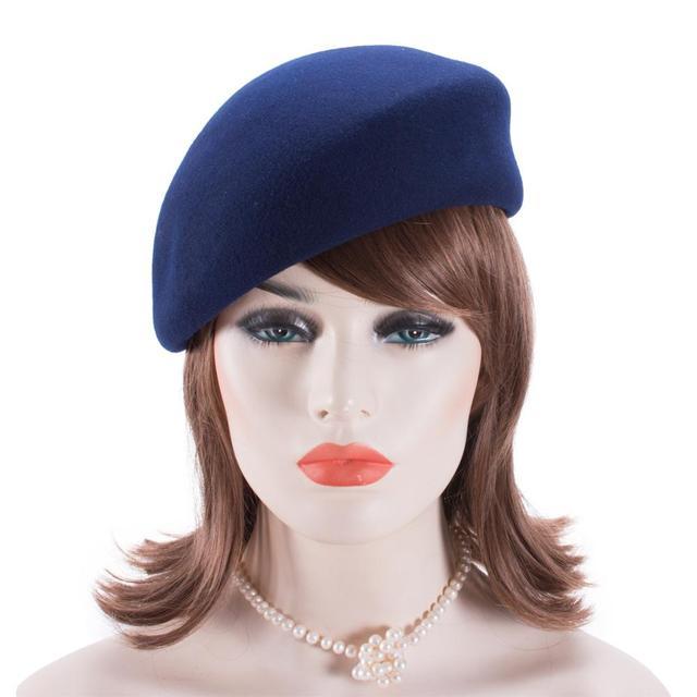 Women Vintage Look 100% Wool Felt Tilt Winter Beret Hats Pillbox Fascinator Saucer Tilt Cap Formal Dressy A468