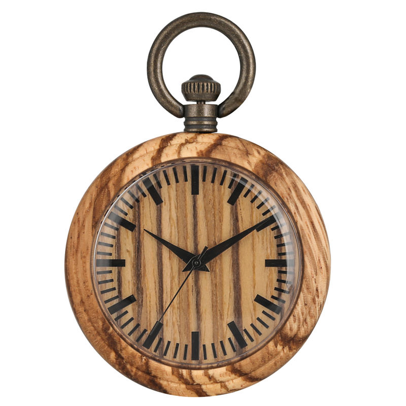 Classic Brown Wooden Pocket Watch Male Clear Display Wood Case Quartz Women Pendant Watches Christmas Gift Zegarek Kieszonkowy