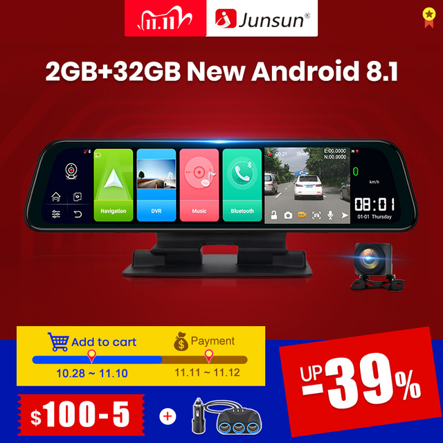 (11.11 code:1111VENTE6)Junsun Android 8.1 2GB + 32GB ADAS 10 en 1 DashCam voiture DVR miroir caméra 4G WIFI GPS Bluetooth Full HD 1080P enregistreur vidéo