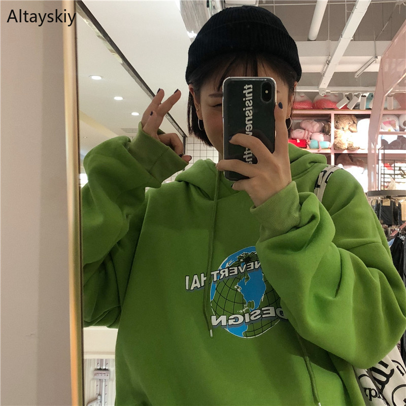 Hoodies Women Thicker Plus Velvet Warm Soft Hooded Pockets Leisure Daily Pullovers Womens All-match Sweatshirts Ulzzang Chic