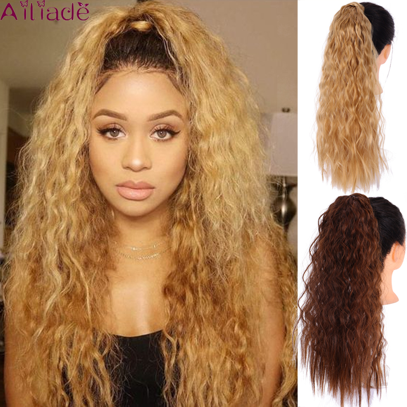 AILIADE Corn Wavy Long Ponytail Heat Resistant Synthetic Hairpiece Wrap On Clip Hair Extensions Brown Pony Tail Blonde Fack Hair