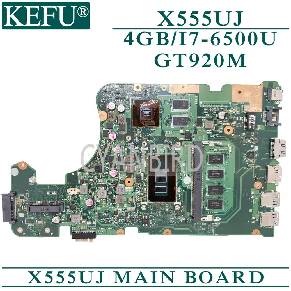KEFU <font><b>X555UJ</b></font> original mainboard for <font><b>ASUS</b></font> X555UF X555UB X555UQ with 4GB-RAM I7-6500U GT920M-2GB Laptop motherboard image