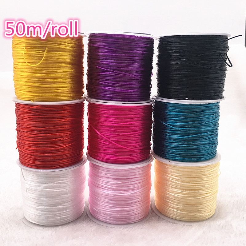 50M/Roll Flexible Elastic Crystal Line Rope Cord For Jewelry Making Beading Bracelet Wire Fishing Thread Rope Color U Pick