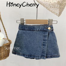 The new summer 2021 baby girl cotton jean short culottes children button shorts baby girl shorts