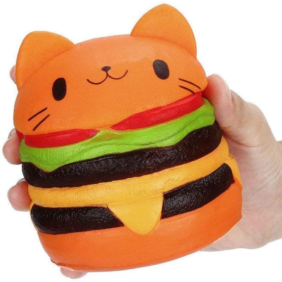 Cute Cat Head Hamburger Squishy Simulated Bread PU Scented Soft Slow Rising Squeeze Toy Collection Gift