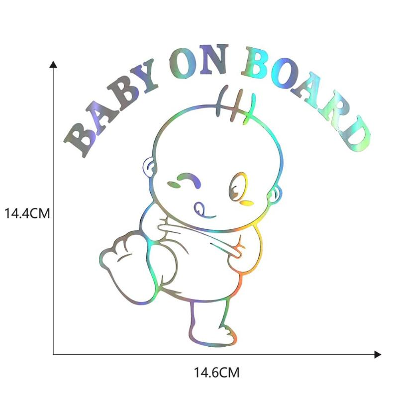 Image 2 - Colorful Laser Baby On Board Car 3D Sticker Funny Vinyl Automobile Styling Decal Smooth Lifelike and Beautiful Picture-in Car Stickers from Automobiles & Motorcycles
