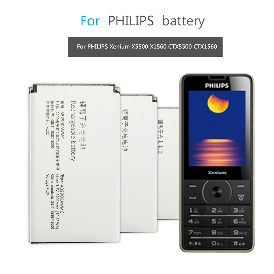 AB2900AWMC For PHILIPS Xenium X5500 X1560 CTX5500 CTX1560 Mobile Phone Replacement Battery 2900mAh image