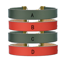 26 Letters Bracelet Personality Name Wrap Leather Men Women Fashion Green / Red Couples Bracelets Gifts