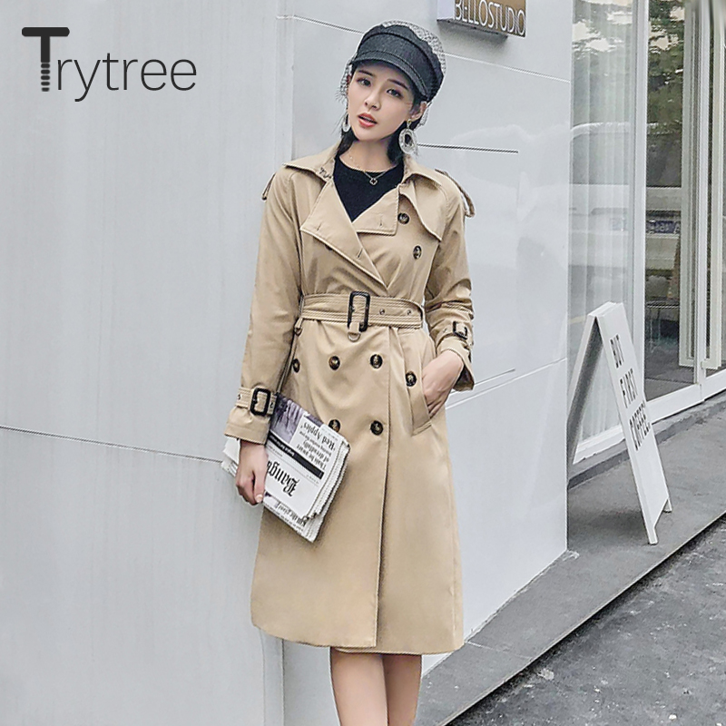 Trytree Autumn Women Coat Casual Button Pockets Belt Adjustable Waist Turn-down Collar   Trench   Office Lady Double Breasted Coat