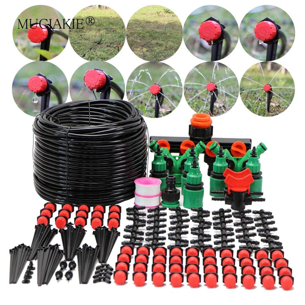 MUCIAKIE 50 M/25 M/5 M DIY Micro Drip Irrigatie Systeem Druppelaar Plant Self Watering Tuinslang kit Met Verstelbare Drippers