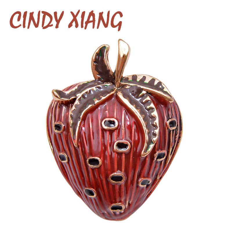סינדי יאנג בציר תות סיכת Winered צבע אופנה פין תכשיטי מעיל חורף אביזרי סיכות לנשים מתנה טובה