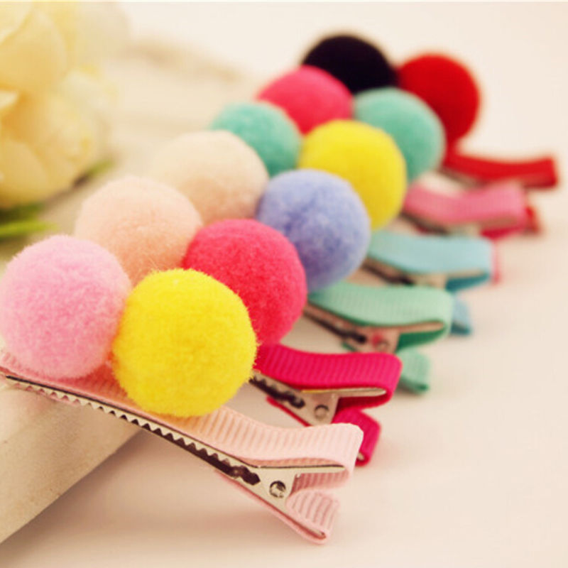 1PCS Girls Colorful Fluffy Balls Hair Hair Little Flower Bows Clips Grosgrain Barrettes Dog Bow For Small Dogs Charms Gift