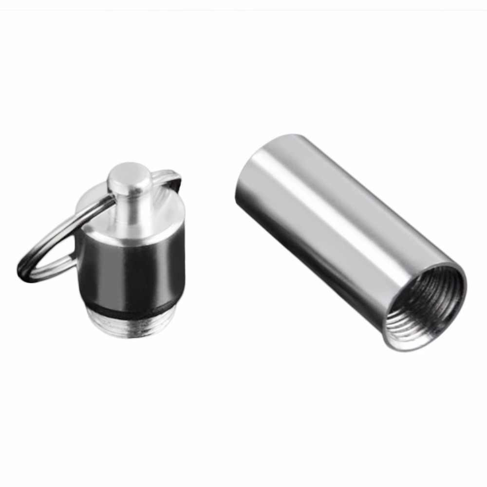 Mały rozmiar brelok Design podróżne pudełeczko na tabletki wodoodporny pojemnik ze stopu aluminium Pill Drug pojemnik z uchwytem pojemnik