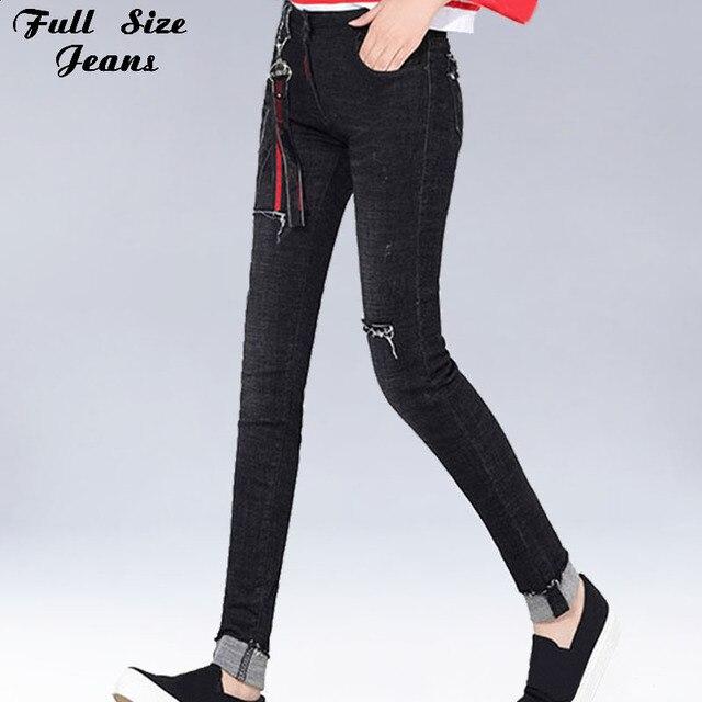 Plus Size Black Ripped Skinny Extra Long Jeans 4XL 7XL Tall Girl Frayed&Cuffed Mom Stretch Denim Pencil Pants Taller Femme Jean