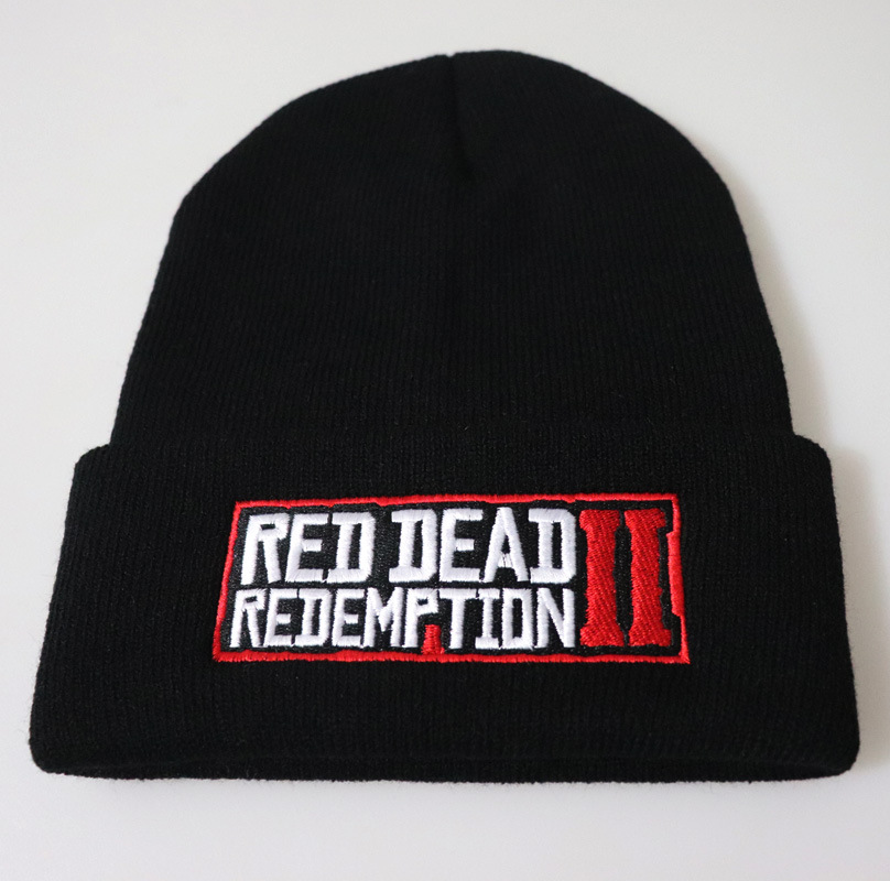 European Winter Fashion RED DEAD REDEMPTION Letters Embroidered Beanie Hat Men Outdoor Riding Warm Wool Cap Street Hip-hop Hat