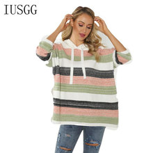 Top Quality Knitted Hoodies Women Striped Sweatshirts Knitting Pullover Ladies Loose Hoody Knitwear Female Clothing