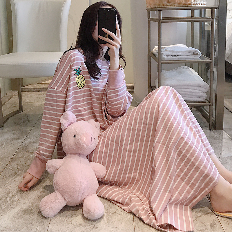 Nightgown Spring And Autumn Long Sleeve Pure Cotton Women's Large Size Plus-sized Cute Cartoon Pajamas Korean-style Cartoon Cute