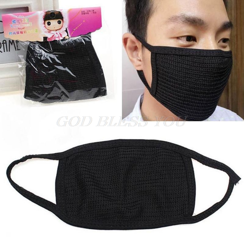 Unisex Winter Outdoor Anti-Dust Half Face Mouth Mask Double Layered Cotton Yarn Cycling Windproof Warmer Elastic Earloop Mask