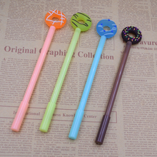 0.38 mm Black Cute Donuts Gel Pen Lovely Candy Color Pens For Kids Gift School Supplies Stationery Writing Supplies 4pcs lot 0 38mm creative cartoon donuts gel pens cute kawaii candy color pen for kids gift school supplies free shipping