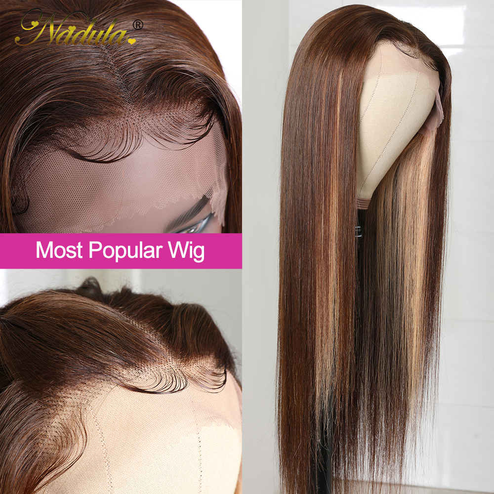 Nadula Hair Straight Lace Front  Wigs 13x4 Ombre Honey Blonde Straight Hair Wigs for Black Women Pre plucked  Hair 4