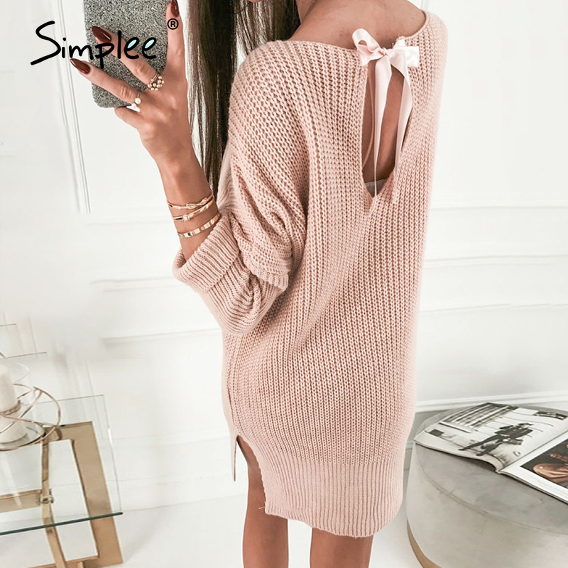 Simplee pink knitted oversize women sweater dress winter 2020 slit short knitted dresses backless sexy female dress vestidos
