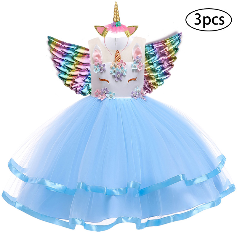 H24bbe7a246f049919a2292cbd7c72a03I New Girls Dress 3Pcs Kids Dresses For Girl Unicorn Party Dress Christmas Carnival Costume Child Princess Dress 3 5 6 8 9 10 Year
