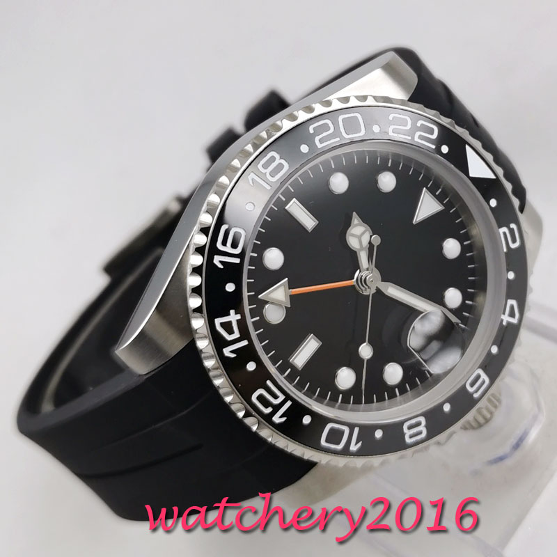 Fashion 40mm PARNIS sterile Black dial No Logo Sapphire watches men GMT watch 2019 Luxury Brand Automatic Movement mens Watch