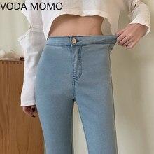 Calças de brim de cintura alta moda feminina mulher meninas calças de lápis feminino jean denim magro mãe jeans mais tamanho