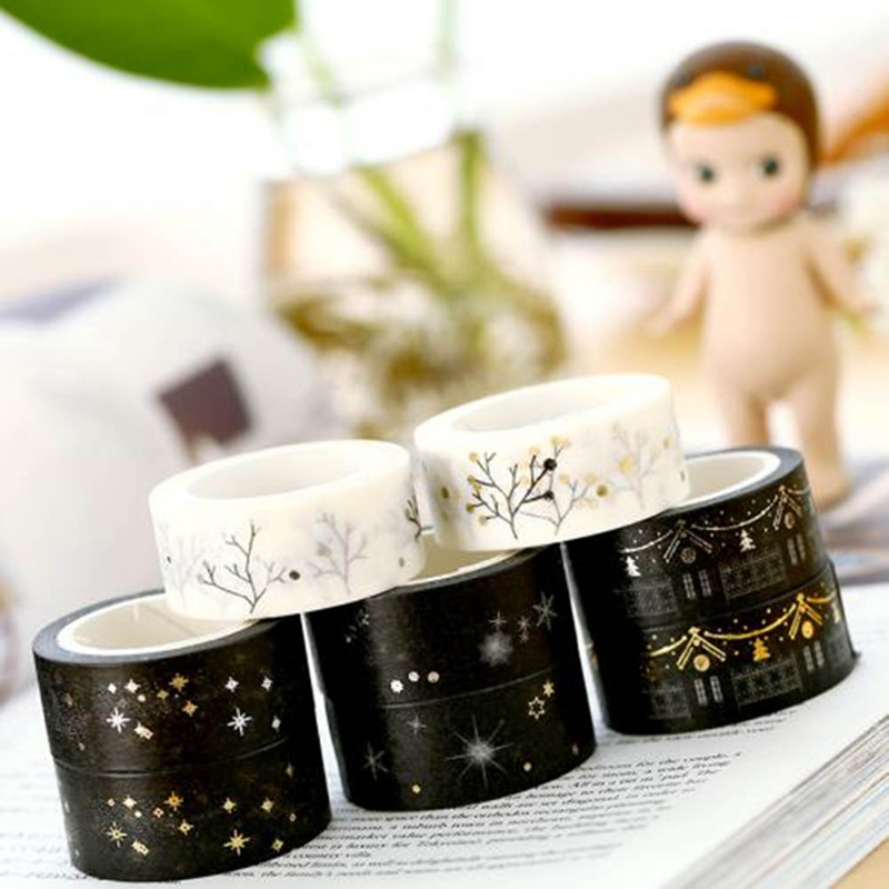 Black Moon Stars Washi Paper Masking Tapes Gold Silver Stamping Decorative Adhesive Tape Scrapbooking Christmas Decor Gifts