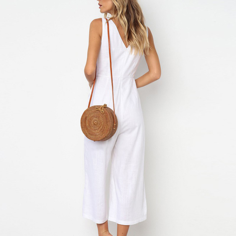 2019 Summer Fashion Popular Deep V neck Pocket Decoration Jumpsuit Summer Solid Color Loose Style Sleeveless Jumpsuit in Jumpsuits from Women 39 s Clothing