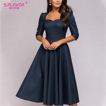 S.FLAVOR-vestido Midi De primavera con estampado De lunares, cuello cuadrado, Espalda descubierta, informal